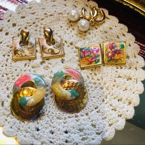 Bundle of vintage pierce earrings